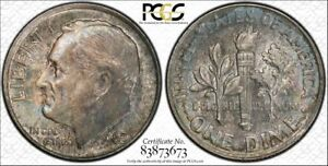 1962 U.S.A. DIME PCGS MS64FB TURQUOISE TONED COIN