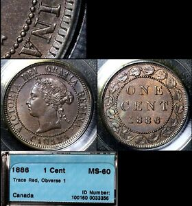 Click now to see the BUY IT NOW Price! ELITE COINS   LARGE CENT VARIETY   1886 OBV.1   MS60 CCCS  A047