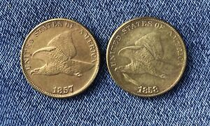 FLYING EAGLE CENTS 1857 & 1858 COMBO