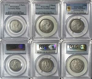 GERMANY THIRD REICH 3PC MATTE PROOF SET SILVER 5 & 2 MARK HINDENBURG PCGS UNIQUE
