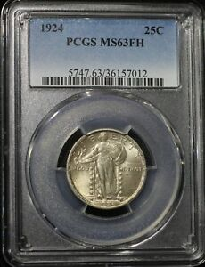 1924 P STANDING LIBERTY QUARTER PCGS MS63 FH FULL HEAD LUSTROUS WELL STRUCK COIN