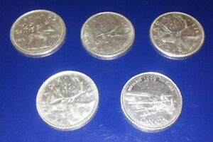 LOT OF 5 CANADA QUARTERS. 25 CENT COINS. CIRCULATED 1972 1977 1978 1987 1999