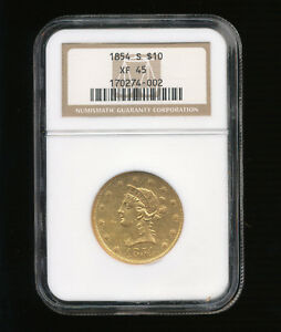 Click now to see the BUY IT NOW Price! 1854 S LIBERTY HEAD $10 GOLD EAGLE NGC XF 45 TEN DOLLAR EAGLE TYPE 2 NO MOTTO