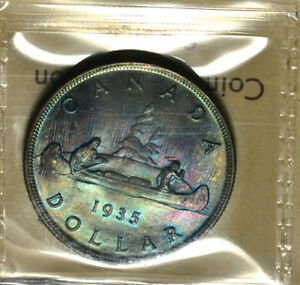 1935 SILVER $1 ICCS MS 66   SUPER GEM   SUPERB GREEN & PURPLE TONES