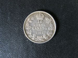 10 CENTS 1904 CANADA KING EDWARD VII SMALL SILVER COIN 10C 10 DIME F 15