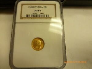 1903 JEFFERSON LOUISIANA PURCHASE $1 GOLD NGC MS 63 BRIGHT SUPERB LUSTER