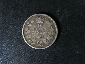 10 CENTS 1907 CANADA KING EDWARD VII SMALL SILVER COIN 10C 10 DIME VG 8