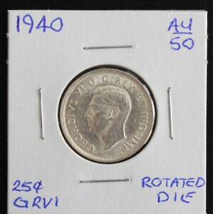 1940 CANADA 25 CENTS AU50 ROTATED DIE