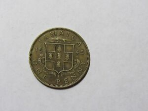 OLD JAMAICA COIN   1945 PENNY   CIRCULATED SPOTS SCRATCHES