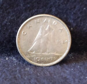 1964 CANADA  DOMINION  SILVER 10 CENTS KM 51  CA1