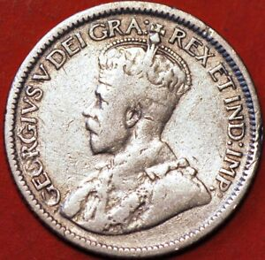 10 CENTS 1917 GEORGE V SILVER CANADA KM23