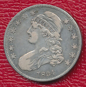 1834 CAPPED BUST SILVER HALF DOLLAR   TONING HIGHLIGHTS FEATURES