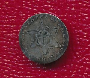 1857 THREE CENT SILVER TRIME   WELL TONED TYPE COIN