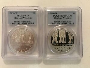Click now to see the BUY IT NOW Price! 2010 W DISABLED VETERANS SILVER DOLLAR $1 PCGS PR70DCAM & MS70  YOU GET 2 COINS