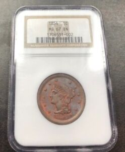 Click now to see the BUY IT NOW Price! 1854 BRAIDED HAIR LARGE CENT NGC MS 67 BN