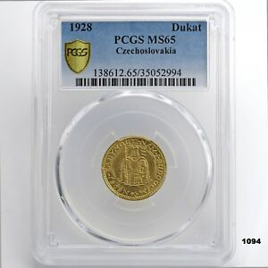 Click now to see the BUY IT NOW Price! 1928 CZECHOSLOVAKIA DUKAT DUCAT GOLD COIN PCGS MS65 KM8 KM 8  HIGHEST IN POP?