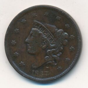 1837 CORONET HEAD COPPER LARGE CENT VERY NICE CIRCULATED CENT SHIPS FREE
