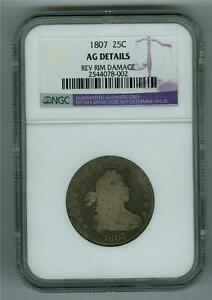 U.S. 1807 DRAPED BUST QUARTER HERALDIC EAGLE TYPE NGC AG DETAILS REV. RIM DAMAGE