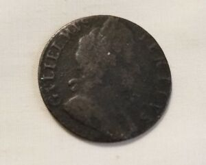 1697 BRITISH COLONIAL COPPER HALFPENNY COIN B2