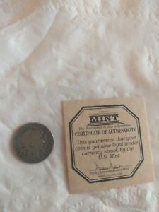 1911 D BARBER DIME WITH COA SEE PICTURES GOOD CONDITION
