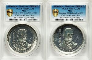UNIQUE SET OF MEXICO PROOF PATTERN SILVER OVERSTRIKES ON 1 ONZA LIBERTAD PCGS