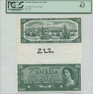 UNIQUE CANADIAN 1954 $20 FACE AND BACK SPECIMEN TEST PRINT PCGS CURRENCY