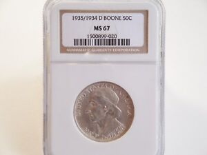 1935/1934 D BOONE COMMEMORATIVE HALF DOLLAR NGC MS67  BRIGHT WHITE AND LUSTROUS