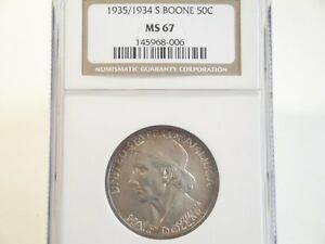 Click now to see the BUY IT NOW Price! 1935/1934 S BOONE COMMEMORATIVE HALF DOLLAR NGC MS67 BRIGHT&LUSTROUS W/RIMTONING