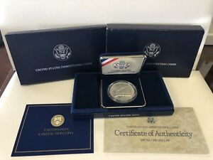 1987 US MINT CONSTITUTION PROOF 90  SILVER DOLLAR COMMEMORATIVE COIN BOX AND COA