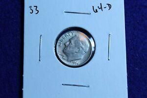 1964 D ROOSEVELT DIME CIRCULATED CONDITION NICE LUSTER 33