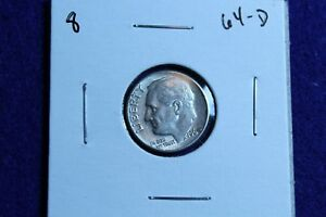 1964 D ROOSEVELT DIME CIRCULATED CONDITION NICE LUSTER 8