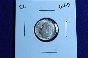 1964 D ROOSEVELT DIME CIRCULATED CONDITION NICE LUSTER 22