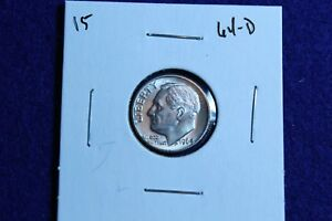 1964 D ROOSEVELT DIME CIRCULATED CONDITION NICE LUSTER 15
