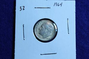 1964 P ROOSEVELT DIME CIRCULATED CONDITION NICE LUSTER 32