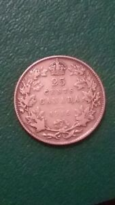 CANADA 25 CENTS 1916