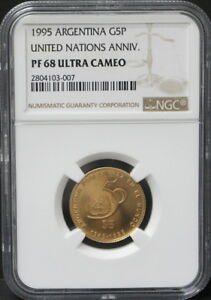 Click now to see the BUY IT NOW Price! ARGENTINA 1995 UNITED NATIONS UN 50TH ANNI GOLD COIN NGC 68