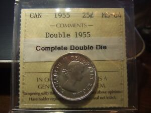 Click now to see the BUY IT NOW Price! CANADA 25 CENTS 1955 DOUBLE DIE ICCS MS 64 DOUBLE DATE