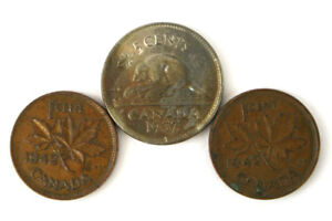 LOT OF TWO 1942 CANADA PENNIES AND A 1937 CANADA NICKEL