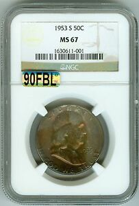 Click now to see the BUY IT NOW Price! 1953 S NGC MS67 FRANKLIN HALF 50C KEY DATE  MAC 90  FULL BELL LINES