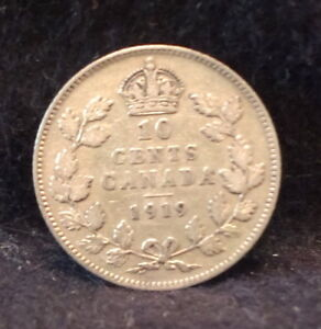 1919 CANADA  DOMINION  SILVER 10 CENTS GEORGE V PLEASANT TONING KM 23  CA19C