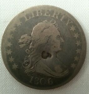 1807 US DRAPED BUST LARGE EAGLE QUARTER $ COUNTERSTAMPED 5 MERCHANT TRADE TOKEN