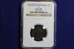 1804 C 1 NGC AU53 BN HALF CENT 1/2C CROSSLET 4 WITH STEMS