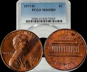 1977 D LINCOLN MEMORIAL PENNY PCGS MS65BN TONED COIN