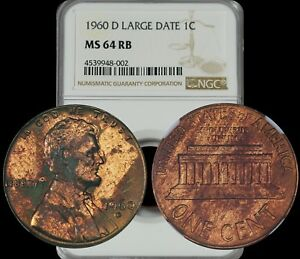 1960 LINCOLN MEMORIAL CENT LARGE DATE NGC MS64 RB BROWN TONED