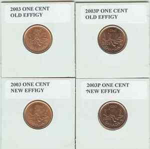 FOUR VARIATIONS OF THE 2003 ONE CENT COIN