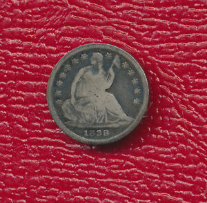1838 SEATED LIBERTY SILVER HALF DIME   TONING ACCENTS FEATURES