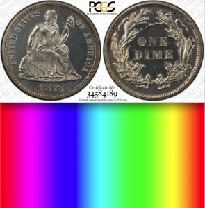 1873 PCGS PR63  600 MINTED MANY MELTED  GORGEOUS PROOF SEATED LIBERTY DIME 10C