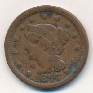 1847 BRAIDED HAIR LARGE CENT  NICE CIRCULATED LARGE CENT SHIPS FREE  INV:2