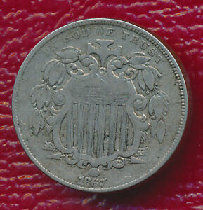 1867 WITH RAYS SHIELD NICKEL   VERY LIGHT CIRCULATION