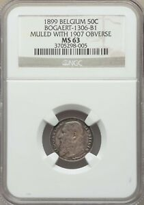 ON SALE 1899 BELGIUM 50C REV MULE WITH 1907 OBV BOGAERT 1306 B1 NGC MS63 2 KNOWN